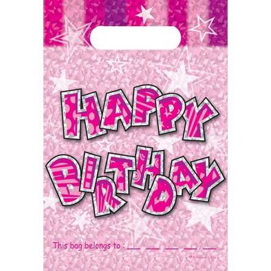 """Kord Loot Bags, Size:6""""X 9"""", Pe, Sparkle Pink"""
