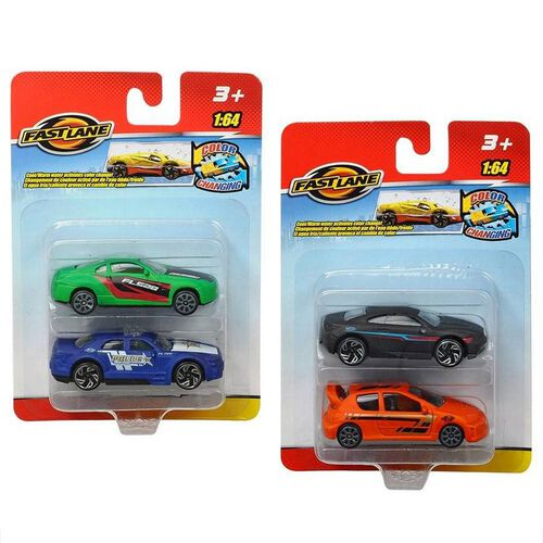 Fast Lane 2 Pack 1-64 Colour Changing Diecast Cars - Assorted