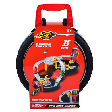 Fast Lane Tire Case Garage With 2 Die-Cast