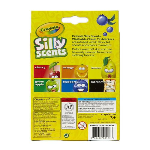 Crayola Silly Scents 6 Colours Scented Chisel Tip Washable Markers