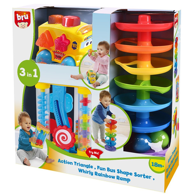 BRU Infant & Preschool 3 in 1 Action Triangle Fun Bus Shape Sorter Whirly Rainbow Ramp