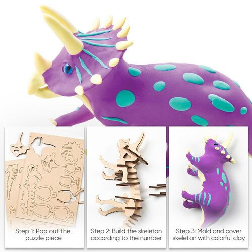 Robotime 3D Puzzle Clay Triceratops