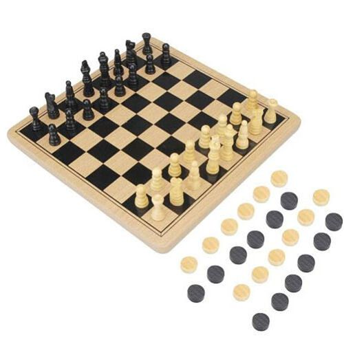 Pavilion Wood Chess And Checkers In Tin