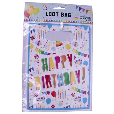 Party Plastic Loot Bag 6 Pieces