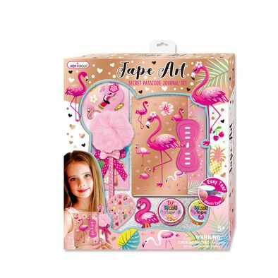 Hot Focus Tape Art Secret Passcode Journal Set Flamingo