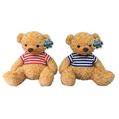 Animal Alley 19 Inch Bear In Striped T-Shirt - Assorted