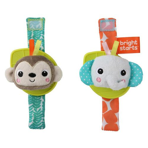 Bright Starts Wrist Pals Toy - Monkey & Elephant
