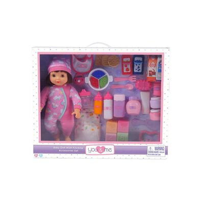 You and Me 14 Inch Doll With Feeding Accessories Set