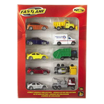 Fast Lane 3 Inches Diecast  Vehicle 10-Pack - Assorted