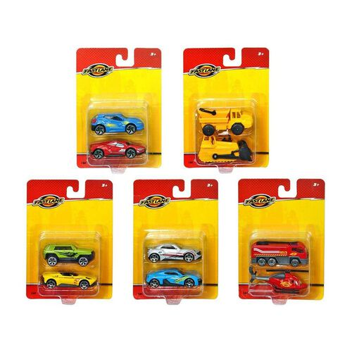 Fast Lane 2 Pack Diecast Vehicles - Assorted