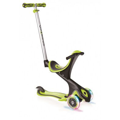 Globber Evo 5 In 1 Lights Lime Green Scooter