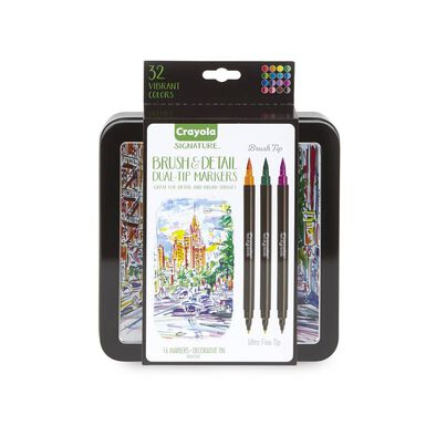 Crayola 16Ct Brush & Detail Duel-Ended Markers