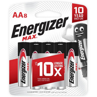 Energizer Max AA Alkaline Batteries 8Pack