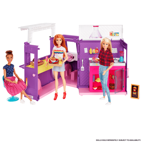 Barbie Food Truck with Multiple Play Areas