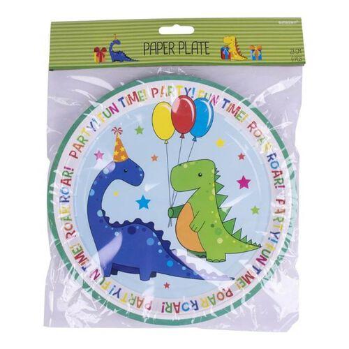 Paper Plate 23cm 6 Pieces Dinosaurs