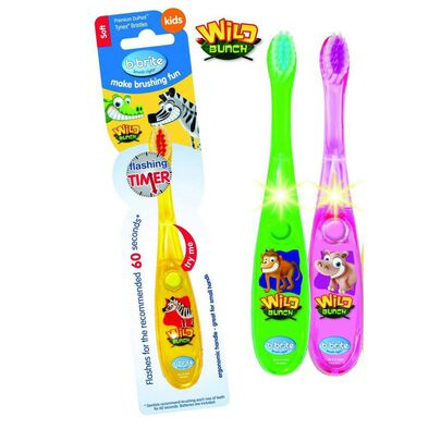 Brush Right Wave Flashing Toothbrush Wild Bunch