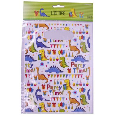 Party Plastic Loot Bag 6 Pieces Dinosaurs
